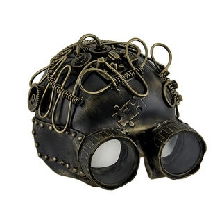 Metallic Steampunk Skull w/Binoculars Half Face Mask