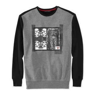 Sean John Duality Terry Cloth Crewneck Sweatshirt Grey and Black Large