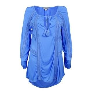 Lucky Brand Women's Long Sleeve Crochet Trim Peasant Top - Blue - m