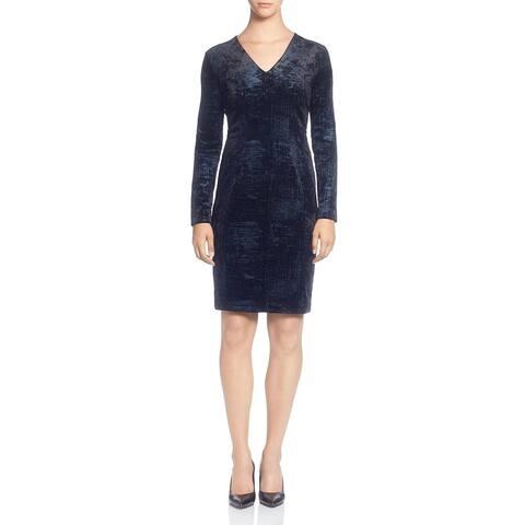T Tahari Women's Velour Foil Print Long Sleeve Knee-Length Dress - Navy