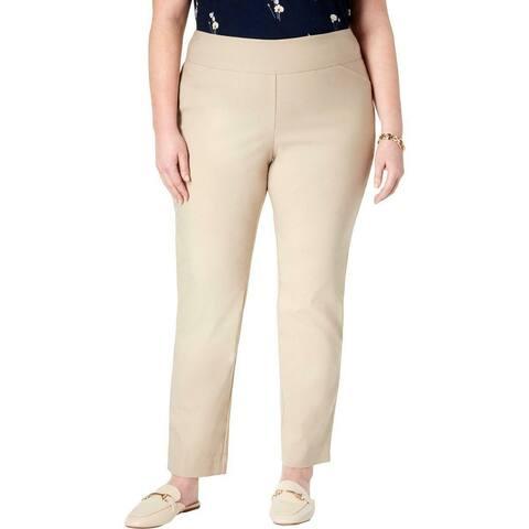 Charter Club Womens Pants Beige Size 22W Plus Short Slim Waist-Smoothing