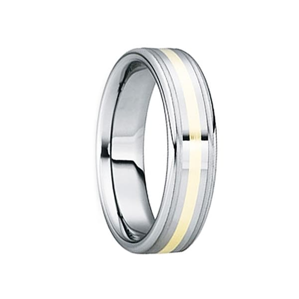 BLANDINUS 18k Gold Inlaid Tungsten Carbide Wedding Band by Crown Ring - 6mm