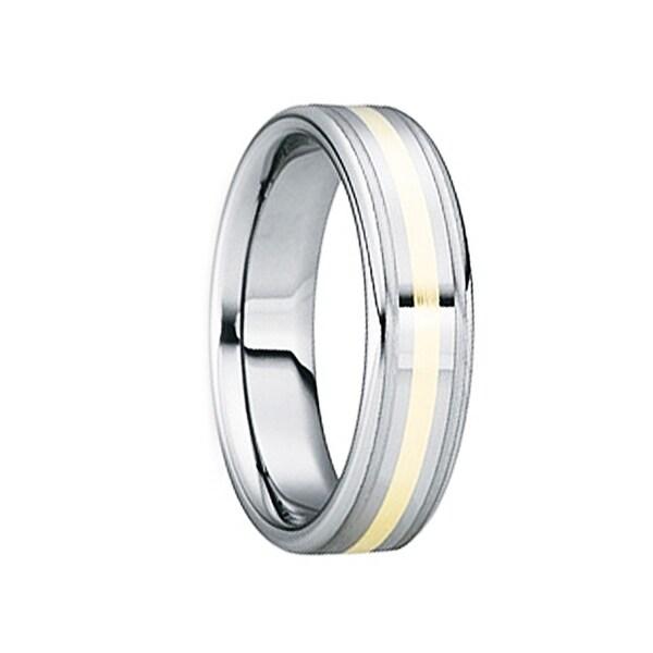 BLANDINUS 18k Gold Inlaid Tungsten Carbide Wedding Band by Crown Ring