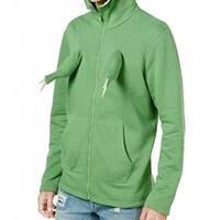 American Rag Green Mens Size Medium M Dino Full Zip Hooded Sweater