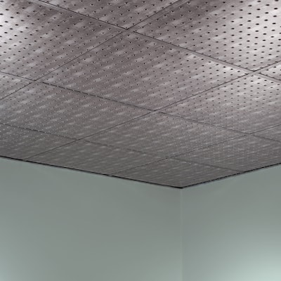Fasade Minidome Decorative Vinyl 2ft x 2ft Lay In Ceiling Tile in Crosshatch Silver (5 Pack)