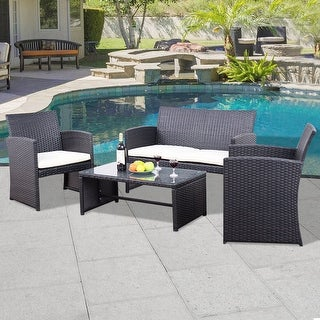 Costway Outdoor 4PCS Rattan Wicker Furniture Set Sofa Seat Cushioned Patio Garden Black