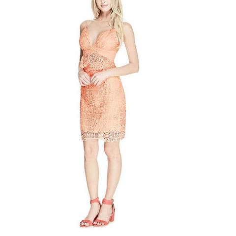 Guess Women's Sleeveless Solstice Lace Dress Tropical Peach (6) - 6