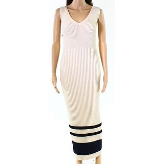 James Perse Blue Womens Ribbed Striped Sheath Dress