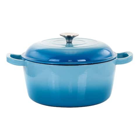 MegaChef 5 Qt Cast Iron Casserole Dish w/ Ombre Enameled Coating