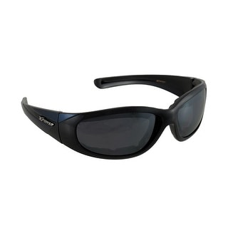 Padded Biker Sunglasses Blue Black Frames Smoke Lens