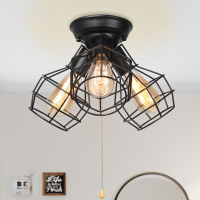 "Industria Addie 3-light Black Metal Wire Cage Ceiling Light - L7.9""X W7.9"" X H5.1 """