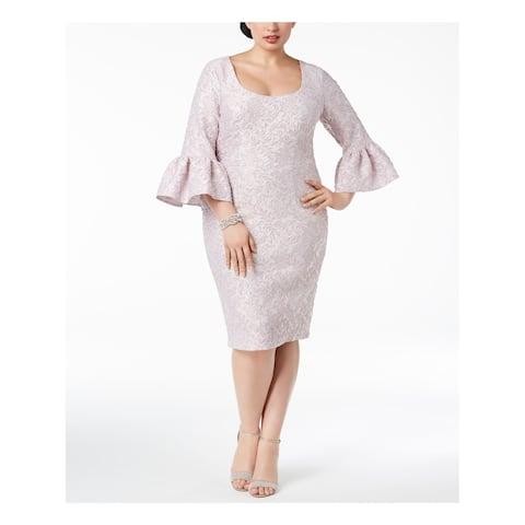 BETSY & ADAM Womens Purple Jacquard Bell Sleeve Scoop Neck Below The Knee Sheath Cocktail Dress Plus Size: 14W