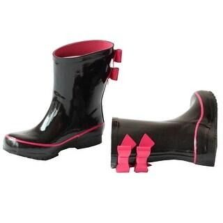 Pluie Pluie Little Girls Black Fuchsia Double Bow Rain Boots 11-4 Kids