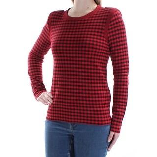 SONIA RYKIEL $670 Womens New 1418 Red Black Plaid Long Sleeve Top M B+B