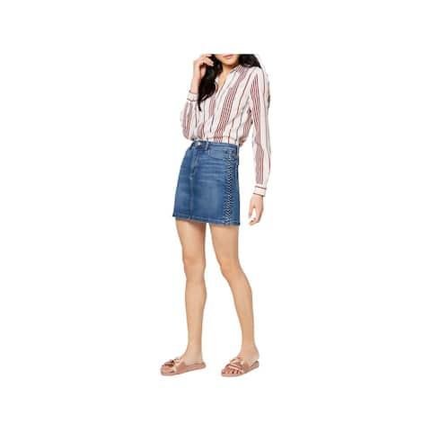 Joe's Jeans Womens The Bella Denim Skirt Braided Medium Wash - 24