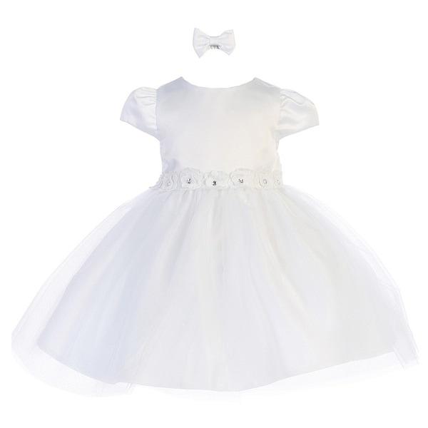 Baby Girls White Rhinestone Center Flower Adorned Satin Flower Girl Dress