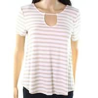 Pink Rose White Women's Size Small S Striped Keyhole Knit Top