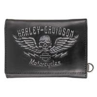 "Harley-Davidson Men's Guardian Tri-Fold Genuine Leather Wallet HDMWA11237-BLK - 4.5"" x 3.5"""