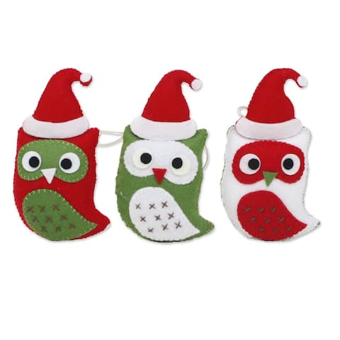 Novica Handmade Wise Young Owls Felt Christmas Ornaments (Set Of 3)