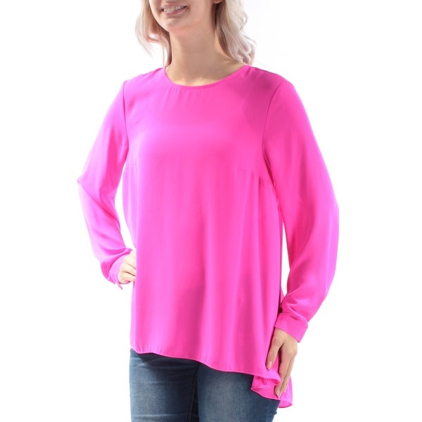 165e21e9918a34 Shop VINCE CAMUTO Womens Pink Cuffed Crew Neck HiLo Top Size: XS - On Sale  - Free Shipping On Orders Over $45 - Overstock - 22429303