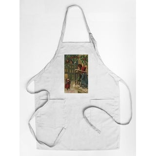 Christmas Greeting - Kids Watching Santa - Vintage Holiday Art (Cotton/Polyester Chef's Apron)
