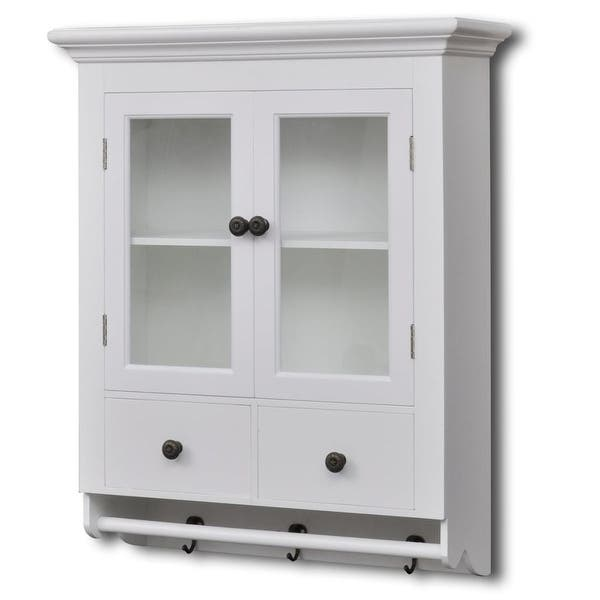 Shop Antique MDF White Wooden Kitchen Wall Cabinet w/ Glass ...