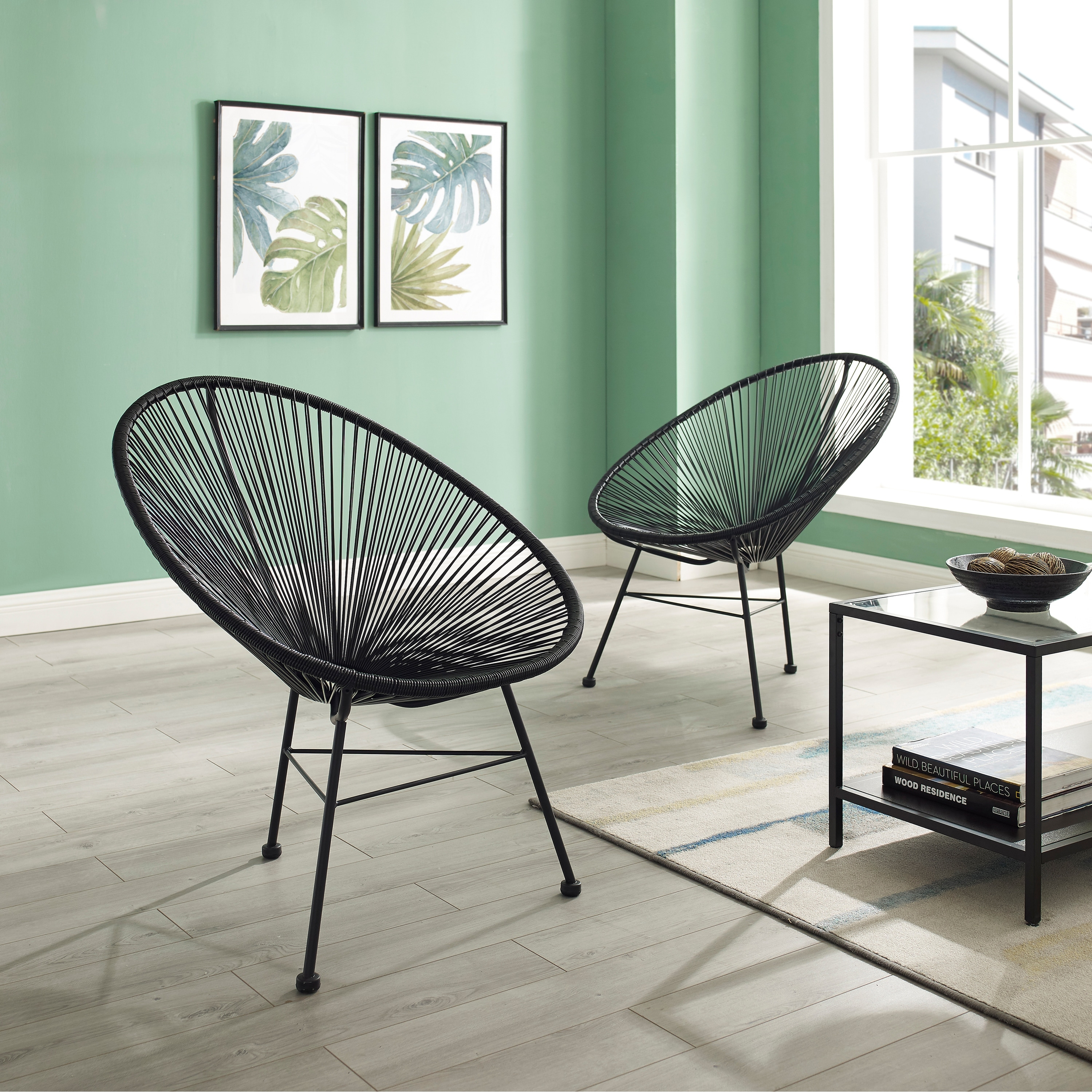 Sarcelles Modern Wicker Patio Chairs by Corvus (Set of 2 ...