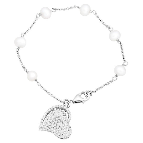 Potato Freshwater Pearl & Natural White Topaz Heart Bracelet in Sterling Silver