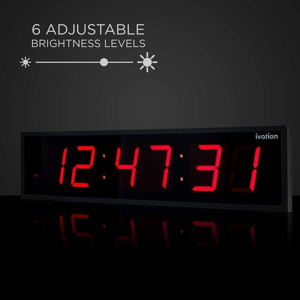 DBTech Large Big Oversized Digital LED Clock-Red-24 Inch