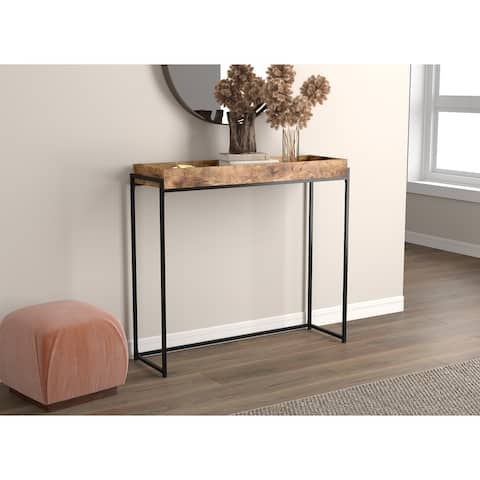 """Console Table 39.5L Brown Reclaimed Wood Sunken Tray - 39"""" x 12"""" x 35"""""""