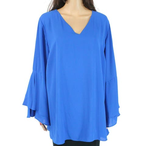 Alfani Women's Blouse True Royal Blue Size 22W Plus V-Neck Ruffled