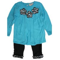 Carter's Baby Girls Blue Flower Applique Ruffle 2 Pc Leggings Set 12-24M