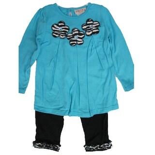 Carter's Baby Girls Blue Flower Applique Ruffle 2 Pc Leggings Set 12-24M