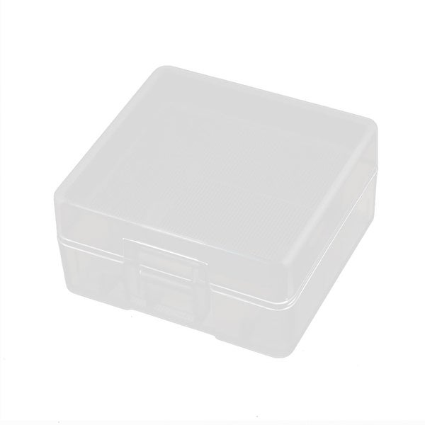 43mmx42mmx22mm Hard Plastic Battery Storage Case Holder Organizer Transparent