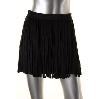 BB Dakota Womens Faux Suede Fringe Mini Skirt