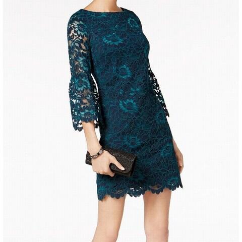 Jessica Howard Women's Lace Bell-Sleeve Sheath Dress