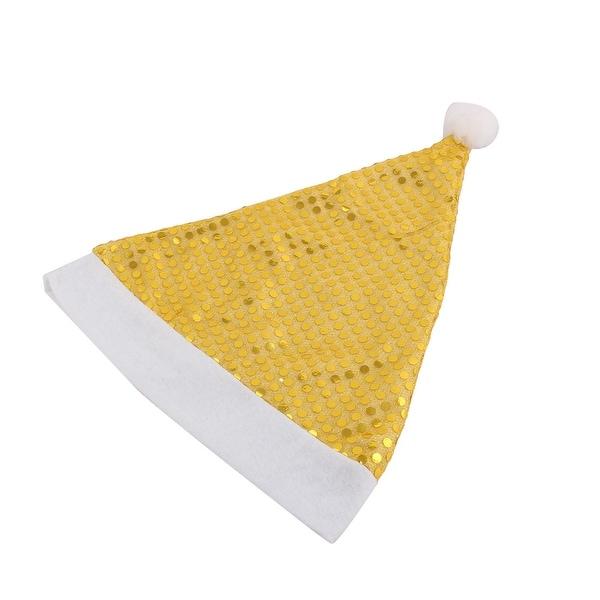 Festival Decor Christmas Meshy Sequins Soft Warm Santa Hat Cap Gold Tone 2pcs
