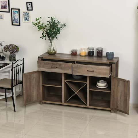HomCom Wooden Farmhouse Sideboard Storage Buffet Cabinet with 2 Large Drawers, X-Shaped Wine Rack, and Cabinets, Grey