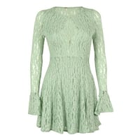 Free People Women's Lace Front Keyhole Dress - foam green - xs
