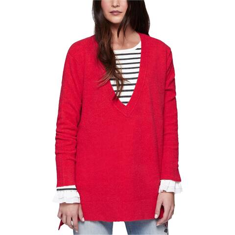 Sanctuary Clothing Womens Hi Low Tunic Sweater, Red, Small