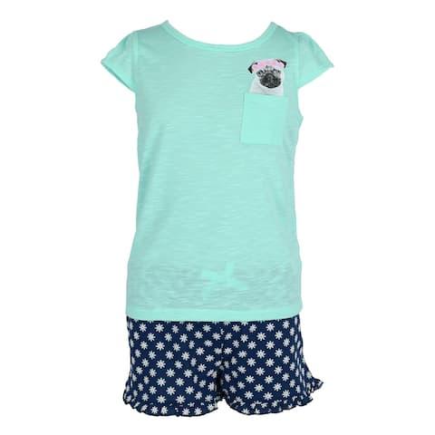 Rene Rofe Girl's Peeking Pocket Tee and Shorts Pajama Set