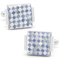 Floating Lapis and Mother of Pearl Checkered Cufflinks - Silver Plated