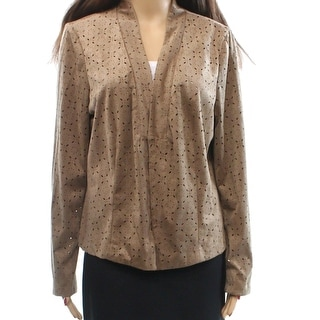 Alfani NEW Brown Womens Size Large L Perforated Faux-Suede Jacket