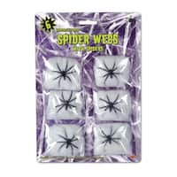 Club Pack of 72 Halloween White Spider Web Decorations with Spiders - Black