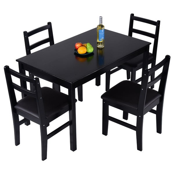 5 Pcs Pine Wood Dining Table And Chairs Dining Table Set