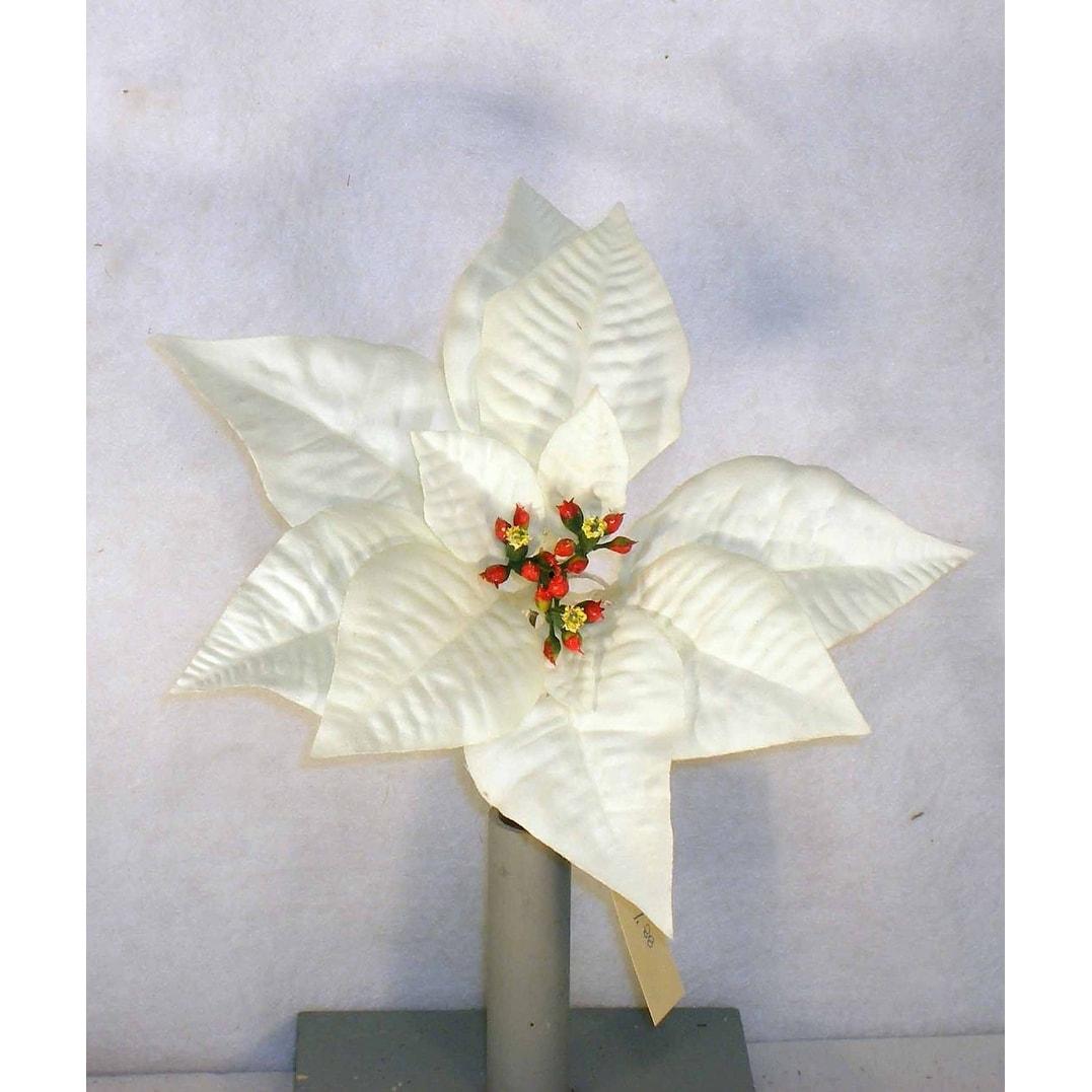 Shop One Dozen 9 Inch Artificial Poinsettia Pick In Cream White