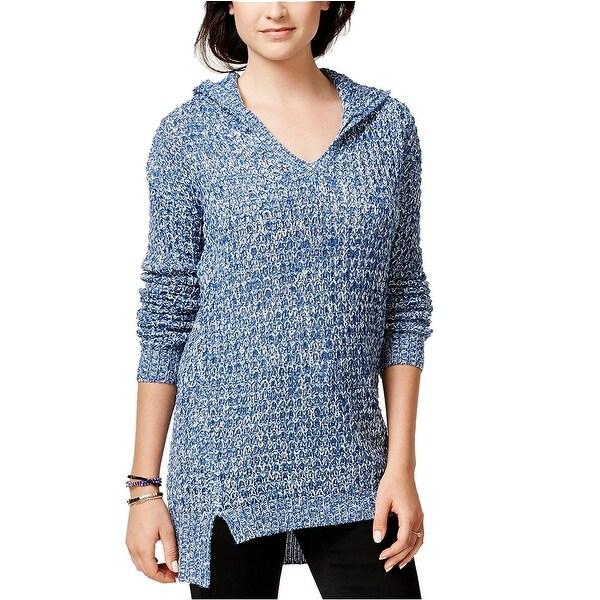 Ultra Flirt Juniors Marled Hoodie Tunic Long Sleeve Sweater