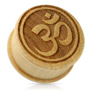 Ohm Symbol Organic Wood Double Flared Plug (Sold Ind.) (More options available)