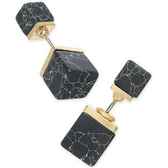 Inspired Life Gold-Tone Black Stone Cube Front and Back Earrings - Small