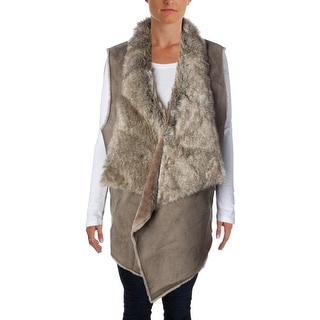 Nic + Zoe Womens Plus Faux Fur Open Front Outerwear Vest - 2X
